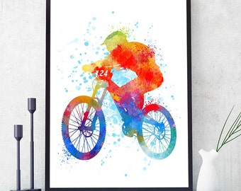Mountain Bike Gift, Mountain Bike Art, Mountain Bike Print, Watercolour Prints, Sports Decor, Gift For Him, Mountain Biker (N003)