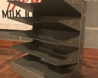 Vintage Metal Curmanco Desktop 5 Tray Filer Industrial Salvage