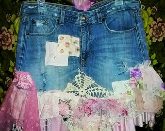 Bohemian summer embellished denim skirt