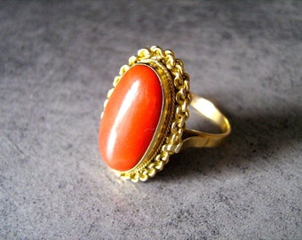 GOLD CORAL ring of goddesses Finest gold coral ring