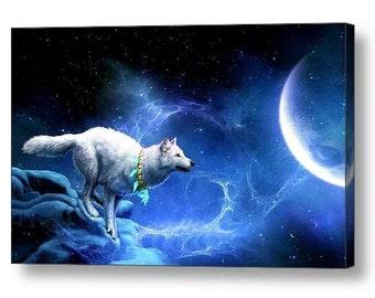 Running Wolf Moonlight Fantasy Canvas Box Art A4, A3, A2, A1 ++