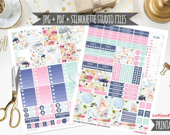 Tea Party Digital Printable Planner Stickers Weekly Stickers Digital Planner Stickers Tea Party Stickers Weekly Planner Cut Files