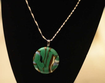 Fused Glass Pendant - One of a Kind