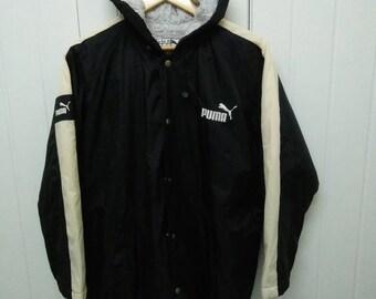 Rare Vintage PUMA Jaspo Big Logo Long Jacket Button Down