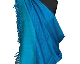 Blue and Turquoise merino wool shawl
