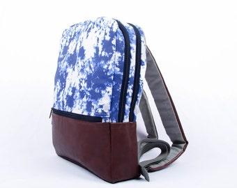 Laptop Backpack, The Indigo Moss Pattern, Laptop Bag, Laptop Bag Women, Laptop Bag for Women, Macbook Bag, Vegan Bag, Fabric Bag