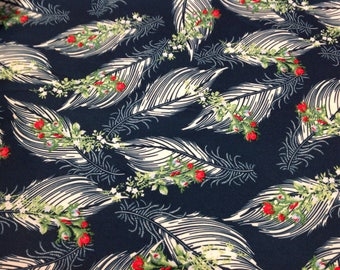 "Vintage Polyester Fabric Navy Blue Flowers & Feathers Print 64"" X 74"""