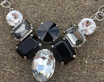 DRAMA QUEEN Swarovski crystal black, gray, and clear necklace with a fancy rolo chain