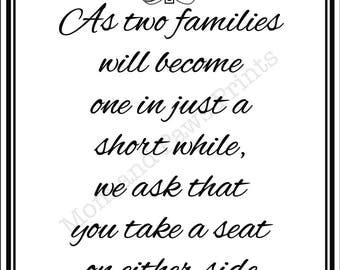As two Families Wedding Poster - INSTANT DOWNLOAD
