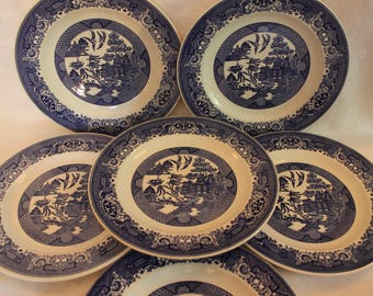 """Set of 6 Blue Willow 10"""" Dinner Plates by Royal China Company"""