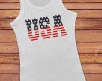 Patriotic shirt - patriotic tank - 4th July tank top - summer tank - 4th July shirt - women's tank - USA tank top - usa shirt - racerback