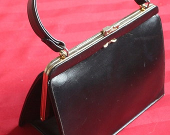 1950's Gold Seal Black Leather Kelly Style Handbag/Purse