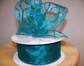 2 1/2 inch Turquoise Wired Ribbon  (by the yard)
