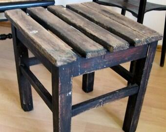 Vintage rustic stool black
