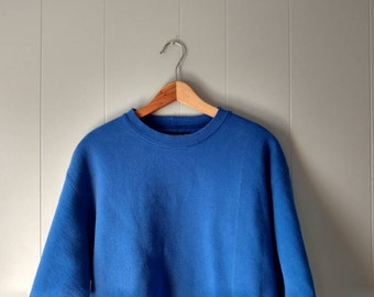 Vintage 90s Land's End blue sweatshirt// made in the USA, simple, basic, minimalist sweater, size M