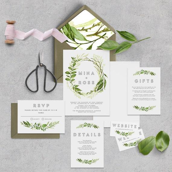 Leaves Wedding Invitation Komerebi Printable DIY Invite