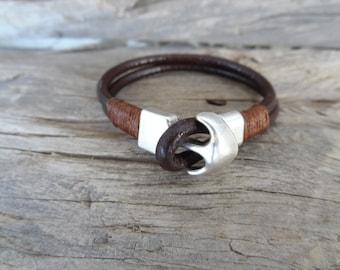 EXPRESS SHIPPING,Men's Chocolate Brown Bracelet,Brown Leather Bracelet,Anchor Bracelet Leather Jewelry,Gifts for Boyfriend, Girlfriend  Gift