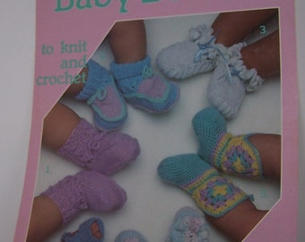Knit and Crochet Baby Booties Instructions Leisure Arts Leaflet 377 - Six Designs Vintage 1985