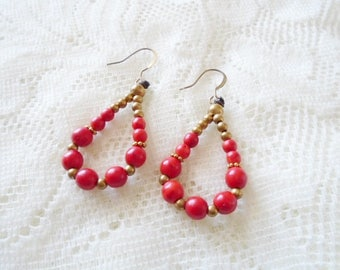 Gemstone & Brass hoop earring, Available in three colors