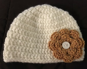 Crochet Hat with Interchangeable Flowers