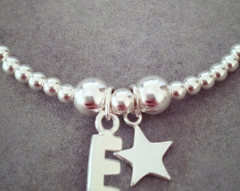 Sterling Silver Star and Initial Charm Bracelet