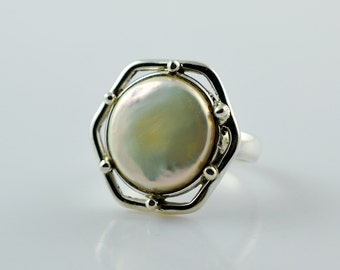 Fresh Water Coin Pearl, Coin Pearl Ring, Pearl Silver Ring, 925 Sterling Solid Silver, Coin Pearl, Handmade Coin Pearl Ring, Size 4 to 13 US