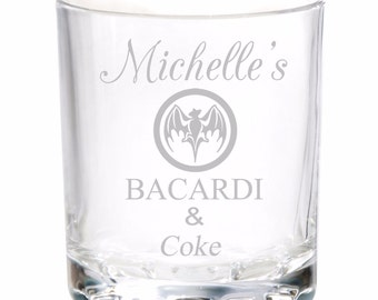 Personalised Engraved Bacardi Rum and & Coke Glass ANY DRINK Birthday Gifts Alcohol
