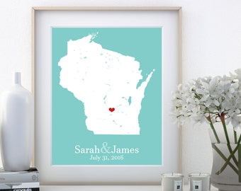 Personalized Womens Gifts, Gift for Women, Personalized Gifts for Women, Madison Wisconsin Map, Custom Couples Map, Personalized Womens Gift