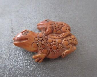 Camel Bones Carved Frog Bead 1pc
