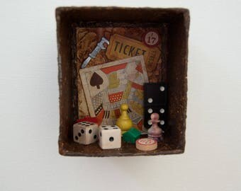Assemblage Art Box - Assemblage Wall Art - Vintage Shadowbox - Games