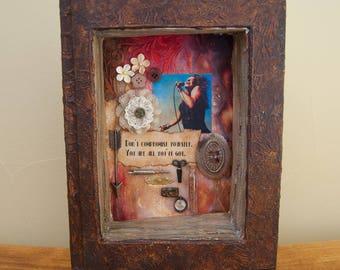 Assemblage Art Book - Mixed Media - Found Object Art - Janis Joplin - Home Decor