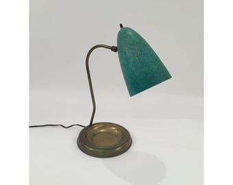 Mid-Century desk lamp with green enamel shade