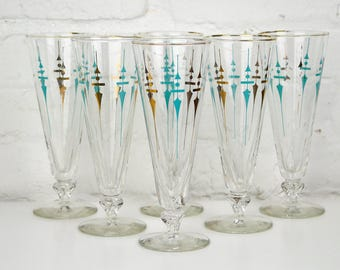 Pilsner Glasses Set of 6 Turquoise and Gold Mid Century