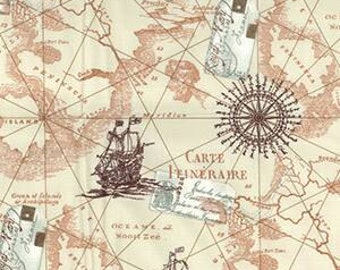 Shabby chic fabric cotton poplin nautical ship design vintage look sold by yard