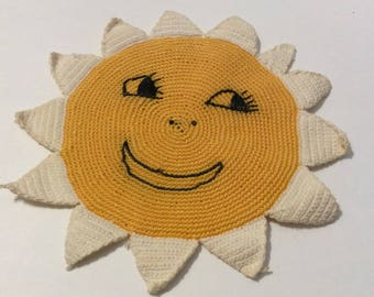 Two vintage hot pads, Summer sun and shorts set of hot pads, vintage hot pads, yellow hot pads, vintage kitchen
