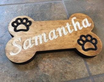 Dog Bone Shaped Pet Name Wood Sign | Pet Name Wood Sign | Carved Pet Name Sign | Bone Shaped Dog Sign | Custom Wood Sign