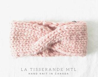 Wool headband, turban headband, wool earwarmer // Hand knit in Canada - Sheep's wool