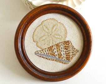 vintage needlepoint shell picture framed round seashell embroidery needlepoint conchshell sand dollar beach house decor
