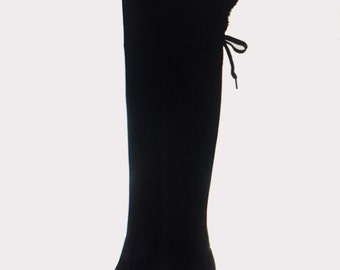 Long Boots  Wedge Heel Faux Suede Stretchy  High Thigh Lace up with Faux Fur Ribbon Tie up on the back