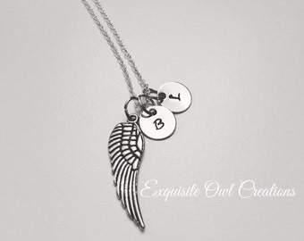 Angel wing necklace, memorial necklace, Memory necklace, Initial necklace, remembrance necklace