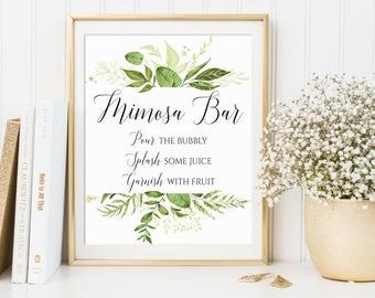 Mimosa Bar Sign, Wedding Sign, Bridal Shower Sign, Bubbly Bar Sign, Wedding Bar Sign, Wedding Decor, Greenery Decor, Mimosa Bar Print