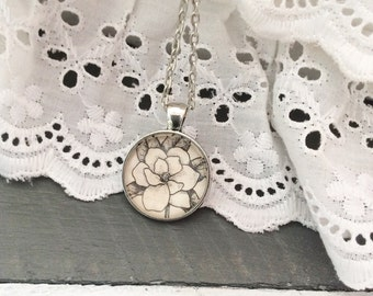 Handcrafted Vintage Dictionary Magnolia Necklace - Joanna Gaines - magnolia jewelry - custom - Fixer upper - magnolia -