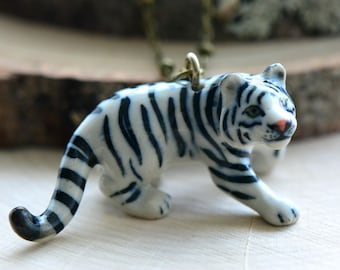 Hand Painted Porcelain White Tiger Dog Necklace, Antique Bronze Chain, Vintage Style, Ceramic Animal Pendant & Chain (CA050)
