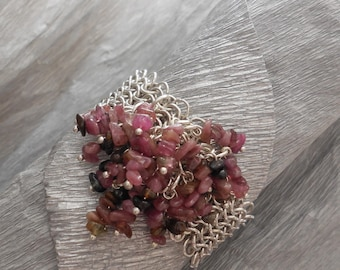 Chainmaille bracelet with tourmaline beads
