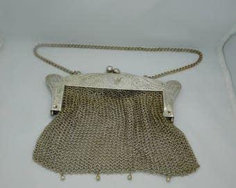 Vintage German Silver Mesh Purse , Handbag