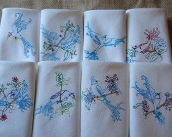 Embroidered Tea Napkins - Set of 8 - 100% Cotton Damask