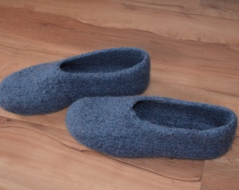 Gr. 40/41 (length 26 cm): felt House shoes with LaTeX sole - felted slippers with LaTeX sole
