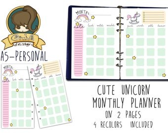 GIUVA-Cute Unicorn-MonthlyPlanner-on 2 Refill pages-PRINTABLE [A5-PERSONAL]