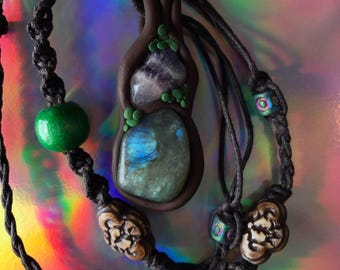 Labradorite & Amethyst Mossy Forest Necklace