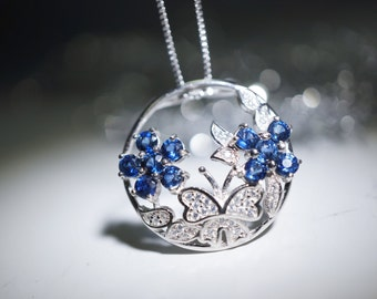 Precious Blue Sapphire Necklace - Sterling Silver Butterfly Necklace - Hq011